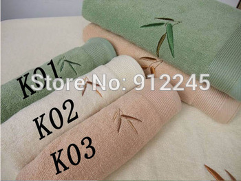 3 PCS Embroidery Bamboo Leaves Thickened Bath Towel 70*140cm Bamboo Fiber Breathable Absorption Antibacterial Beach Towels H0029