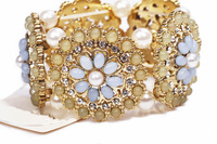 BS004 fashion metal ladies full rhinestone pearl gem mix match flower elastic bracelet TC-7.99