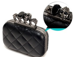 2012 vintage Skull purse,Black Skull Knuckle Rings Handbag Clutch Evening Bag With shoulder Chain Perfect free shopping EB085(China (Mainland))