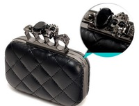 2012 vintage Skull purse,Black Skull Knuckle Rings Handbag Clutch Evening Bag With shoulder Chain Perfect free shopping EB085