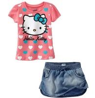 New, retails , new design, girls hello kitty T shirts+dress, 2 in 1,2T-7T ,1set/lot--JYS40