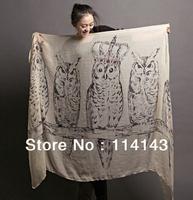 Cream Fashion Women's Big Owl Crown Scarf 180cm*80cm, Free Shipping