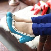 Fashion elegant high square heel women shoes Wavy edge pumps for lady,Black,Pink,Blue,Orange,size 34-43 wholesale