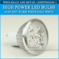 Wholesale 250PCS High power led Bulb Lamp GU10 4W 4*1W 5W 5*1W AC85-265V Warm White/Cold white Free Shipping