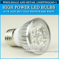 Wholesale 250PCS High power led Bulb Lamp E27 4W 4*1W 5W 5*1W AC85-265V Warm White/Cold white Free Shipping