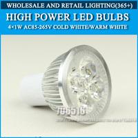 Wholesale 250PCS High power led Bulb Lamp GU5.3 4W 4*1W 5W 5*1W AC85-265V Warm White/Cold white Free Shipping