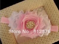 kids Headband for photo three pcs Shabby Frayed Chiffon Flowers with Rhinestone baby headband 20pcs/lot