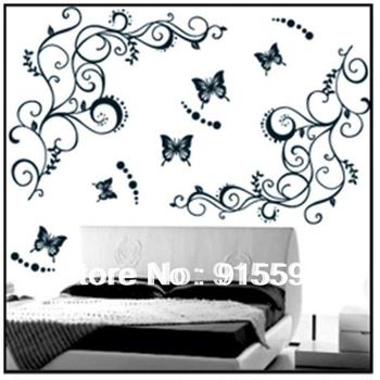 Free Shipping:1Set=2 Flowers Vines+5 Butterfliers Black 3D DIY Fashion PVC Home Wall Stickers Decor/Room Stickers Mural 90*120cm
