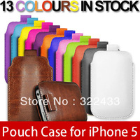 100pcs Soft PU Leather Pull TAB Slip Pouch Case Cover For iPhone5 5G  free Fedex