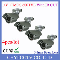 4pcs/lot 1/3'' CMOS 600TVL 3.6mm Board Lens 23pcs IR LED Outdoor IP66 waterproof IR Bullet Camera With IR CUT