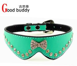 NEW ITEM!6 colors free shipping bling bowknot pet collars,crystal dog collars,the first launch of collars(China (Mainland))