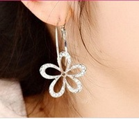 Minimum order $15 free shipping fashion  restore ancient ways  full rhinestone flower cutout earrings stud earring