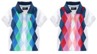 New Fashion Summer Handsom baby boys cotton diamond plaid t-shirt brand name children's clothes 6pcs/lot free shipping