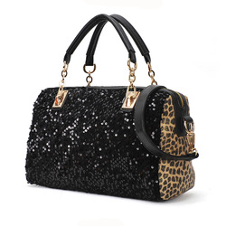 2013 new trendfashion paillettes leopard on both sides Shoulder Messenger bag handbag free shipping BSP015(China (Mainland))