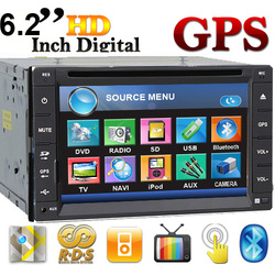 "Free Camera 6.2"" Double Din GPS Navigation Car DVD Player Stereo RDS AM FM Radio In Dash head Deck Bluetooth IPOD TV Free MAPS(China (Mainland))"