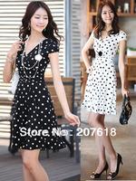 Summer Dresses New Fashion Women Crepe Silk Dress Plus Size Ladies Sexy Polka Dot Mini Pleated Dress