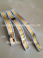 50 PCS/LOT FREE SHIPPING HOLE TO HOLE 128MM ZINC CABINET HANDLES  W/ CHAMPAGNE GOLD ARCYLIC DECORATION PASTER