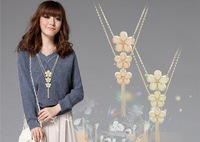 korean high quality elegantce multilayers three plum blossom tassel sweater necklace quality alloy  free shipping HeHuanXL041