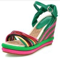 2013 new summer sandals wedges shoes for women Women meters color block decoration straw braid platform wedges platform sandals