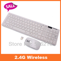 1set 2.4G White Wireless Metal PC Keyboard +Mouse Keypad Film Kit Set For DESKTOP PC Laptop Free Shipping 80426