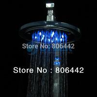 New LED Light Round Glass rainfall Rain Shower Head Bathroom Bath Glow 3 Colors A4 2342