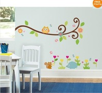 Owl Scroll Tree Wall Decal Art Vinyl Nursery Stickers Removable Baby Decor 1004