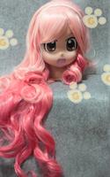 Women Pink Gradation Princess Heat Friendly Long Big Wave Hair Wig / Cosplay Party Animation Wig 35'' 90cm