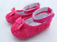 18pairs/lot Baby shoes rose baby prewalker flowers baby kids shoes 6 colors cotton rose shoes can choose any color and size