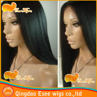 Free shipping 100 human hair glueless full lace wig with yaki straight with middle line-1B color-density 120% in stock