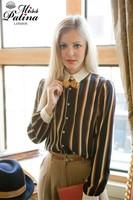 2014Spring Autumn Women Casual blouses Chemisier Striped Blouse Lapel Shirts Long Sleeves Lady Girl shirt 10/pcs Wholesale 403-1