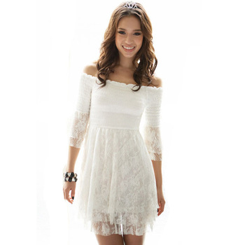 2014 Summer Korean Style Beach White Lace Dresses Off Shoulder Short Sweet Bohemia Slim Women's Mini Dress Free shipping WQL099