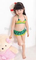 Girl's Cute Yellow with Green Color Watermelon Pattern Bikini Lovely Kid's Mini-Bikini Suitable for 2-6 years old Girls (2918)