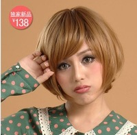 Free shipping  whole sales blonde human hair lace front wigs full bangs on sales