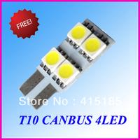 50pcs/Lot T10 4SMD 5050 NO OBC Error free led canbus Car Interior Lamp T10 4SMD 5050LED Bulbs 12V