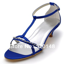 """2014 New Arrival EP2111 Royal Blue Sandals Open Toe Rhinestone T Strap 2"""" Cone Heel Satin Woman Dress Shoes(China (Mainland))"""