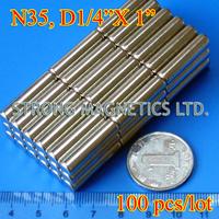 "Free Shipping by DHL! N35, D6.35X25.4mm,  D1/4""X1""  100pcs/lot,  Top quality permanent  NdFeB Rare earth Neodymium magnets"