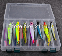 Promotion! 14pcs/set plastic fishing lures set with big 2-layer retail box, assorted fishing bait hard bait free shipping