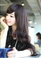 Girls wig scroll bulkness linen wifing big wave oblique bangs repair pear stubbiness Free Shipping