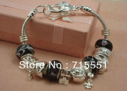 PB10 NEW Free shipping Wholesale Price, 925 Silver Glass Beads Charm Bracelet, Fashion silver Bracelet Jewelry(China (Mainland))