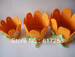 Easter decorations,Four colours mixed Yellow-Green-Orange-Pink, 6sets/lot,non-woven Flower basket(China (Mainland))