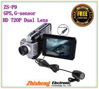 "Dual lens HD 720P Car Black box F900 2.5"" LCD + 2 Channels + GPS+G-sensor + HDMI+AV out + 270 rorate Car DVR Camera Recorder P9"