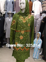 Wholesale/retail New women's muslim clothing jilbab high quanlity embroidery arab clothes Free shipping