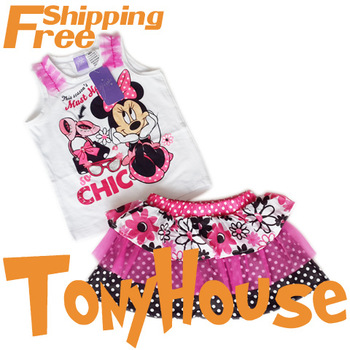 2013 Summer New, Children Girl's 2PC Sets Skirt Suit, Minnie Mouse Vest+Chiffon Cake Skirt Clothing Suit