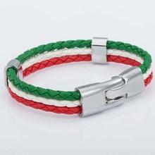 Wholesale Fashion Unisex MENS Womens Jewelry Italy Flag Style Rope Surfer Leather Bracelet Wristband Gift LB141
