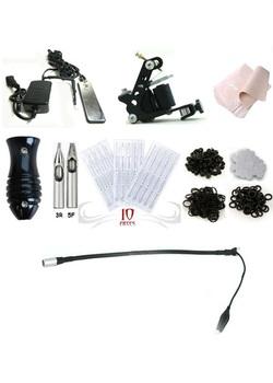 Free Shipping Tattoo Machine Equipment Set Starter Kit 1 Guns Supply Body Art silver leaf tattoo gun