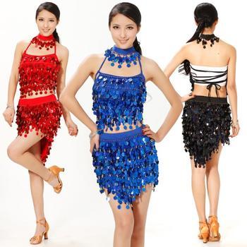 Hot sale Latin dance skirt clothes practice service table costume paillette set salsa dress