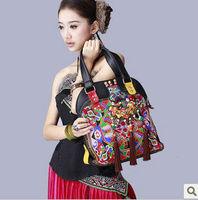 Original design national trend embroidered bags handmade beading soft leather shoulder bag messenger bag