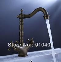 Luxury Brand NEW kitchen faucet vessel sink mixer tap antique brass dual cross handles swivel spout