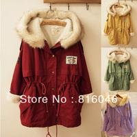 Fox fur collar Sherpa drawstring medium-long thickening wadded jacket cotton-padded outwear,fashion parka,overcoat,free shipping