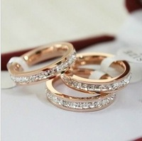 Gurantee 100% Titanium Steel Brand rhinestone wedding engagement band for women and men -Free Shipping 2014 RG002